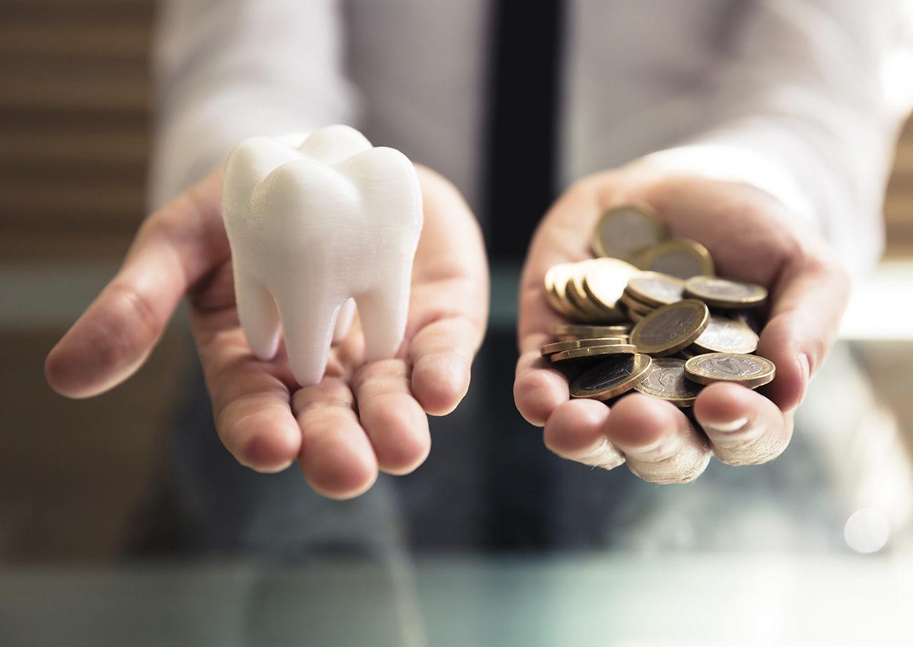 Geld sparen mit günstigem Zahnersatz in Ungarn: Zahnmodel und Euro Münzen